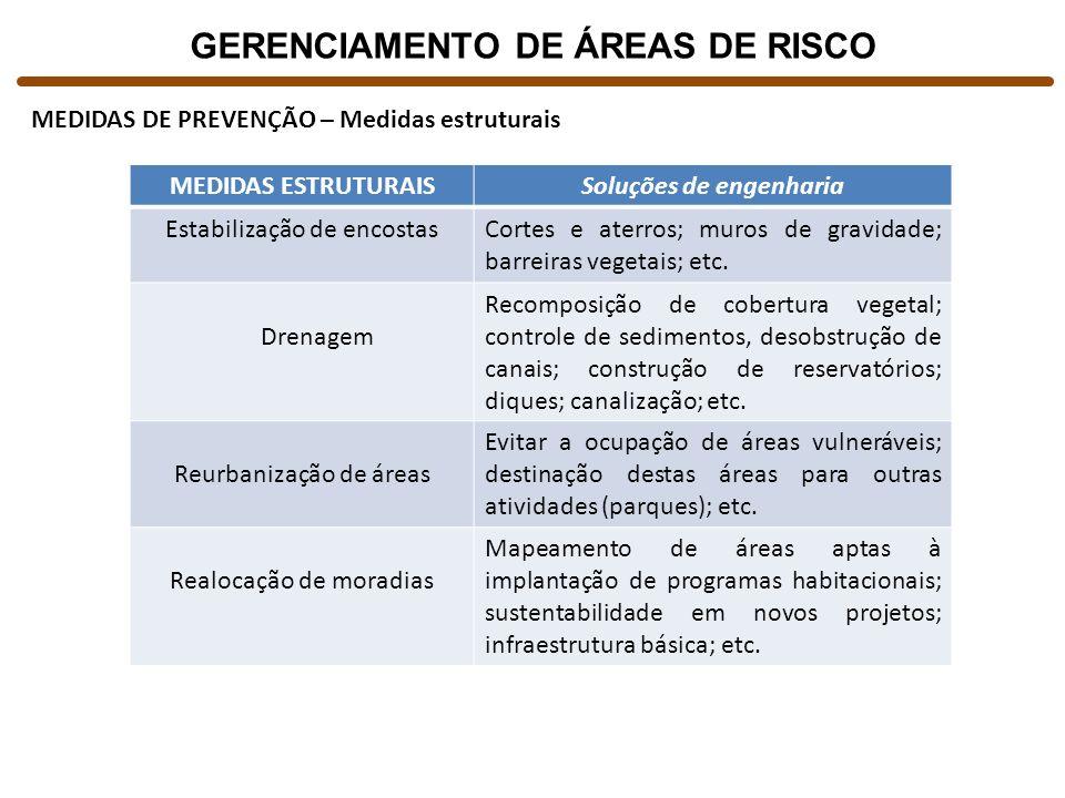 GERENCIAMENTO DE ÁREAS DE RISCO Soluções de engenharia