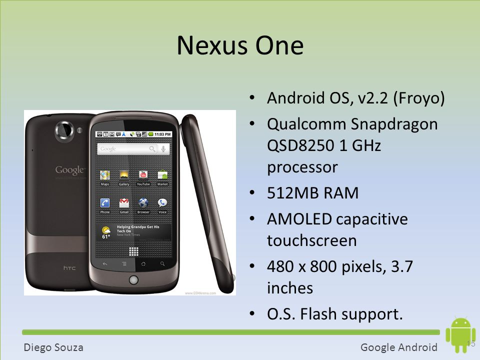 Nexus One Android OS, v2.2 (Froyo)