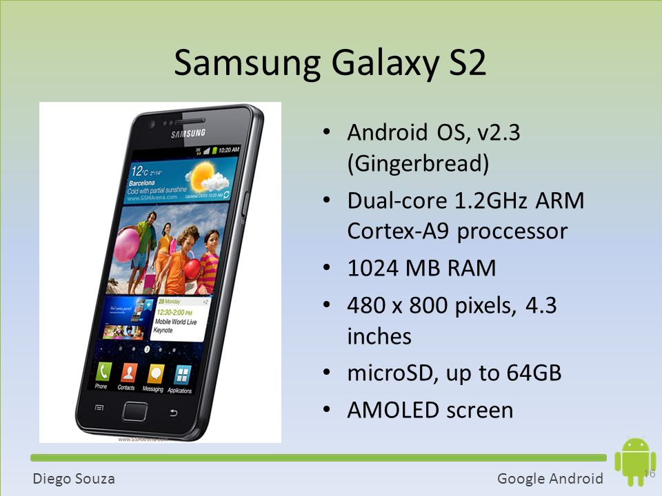 Samsung Galaxy S2 Android OS, v2.3 (Gingerbread)