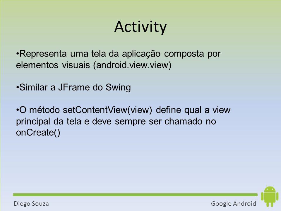Activity Representa uma tela da aplicação composta por elementos visuais (android.view.view) Similar a JFrame do Swing.