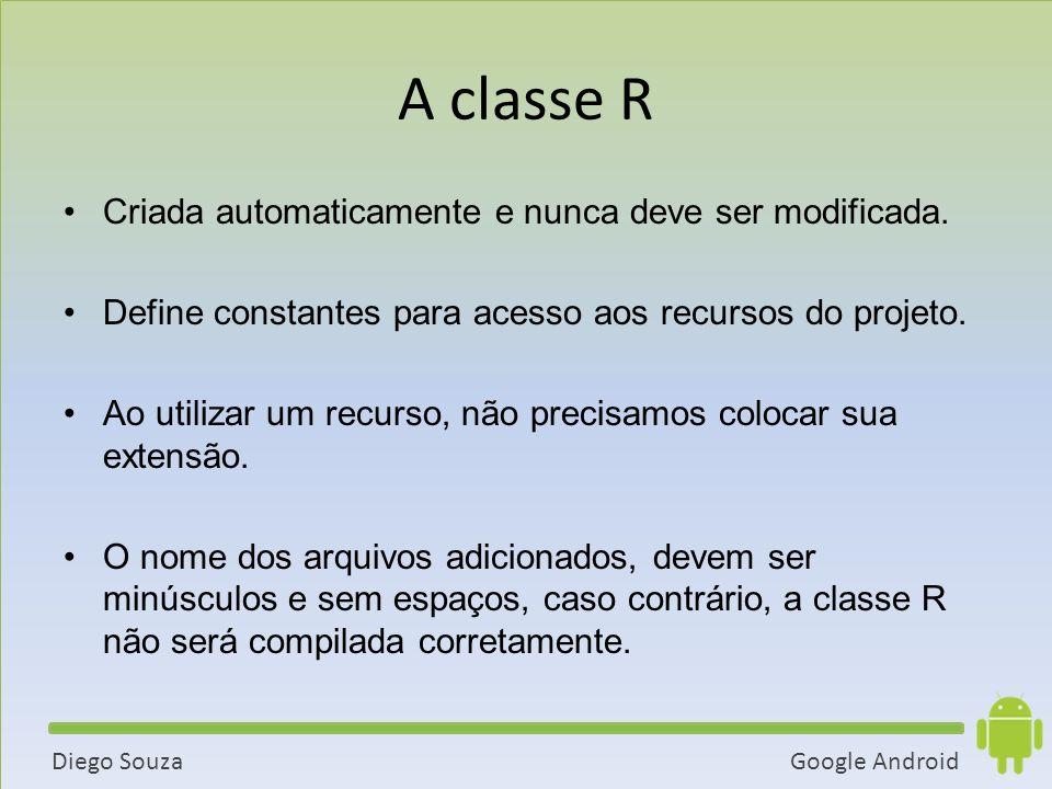 A classe R Criada automaticamente e nunca deve ser modificada.