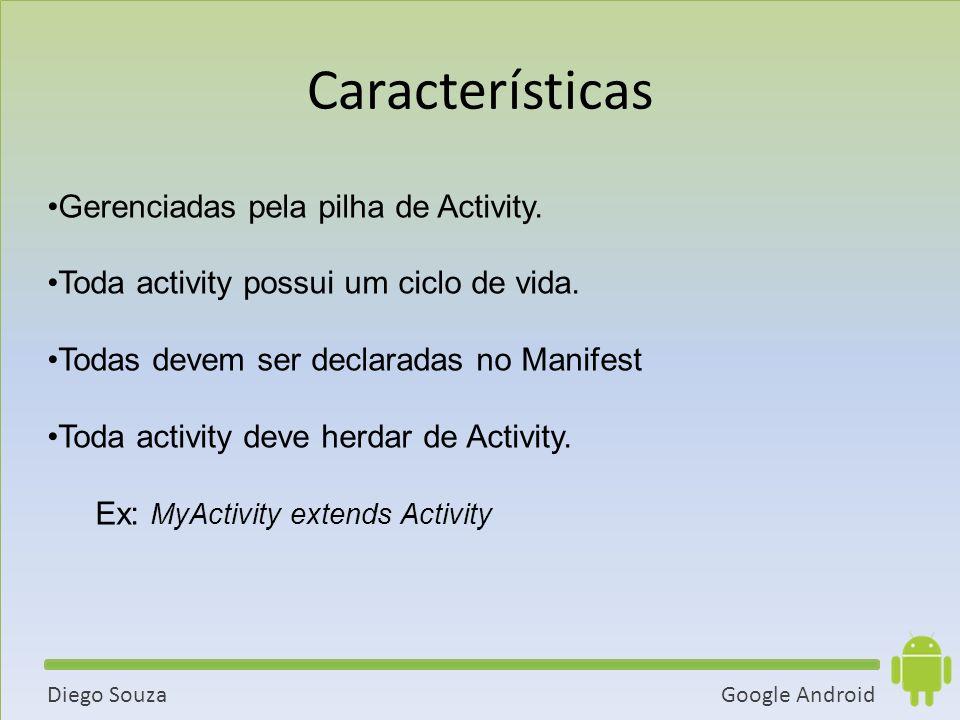 Características Gerenciadas pela pilha de Activity.