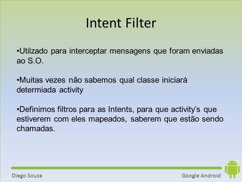 Intent Filter Utilzado para interceptar mensagens que foram enviadas ao S.O. Muitas vezes não sabemos qual classe iniciará determiada activity.
