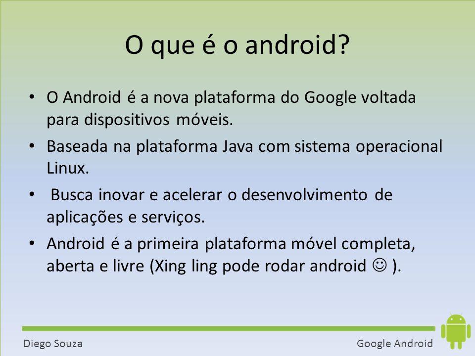 O que é o android O Android é a nova plataforma do Google voltada para dispositivos móveis.