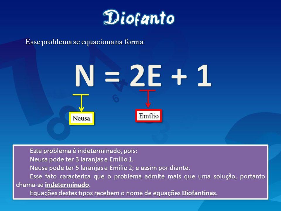 N = 2E + 1 Esse problema se equaciona na forma: Emílio Neusa