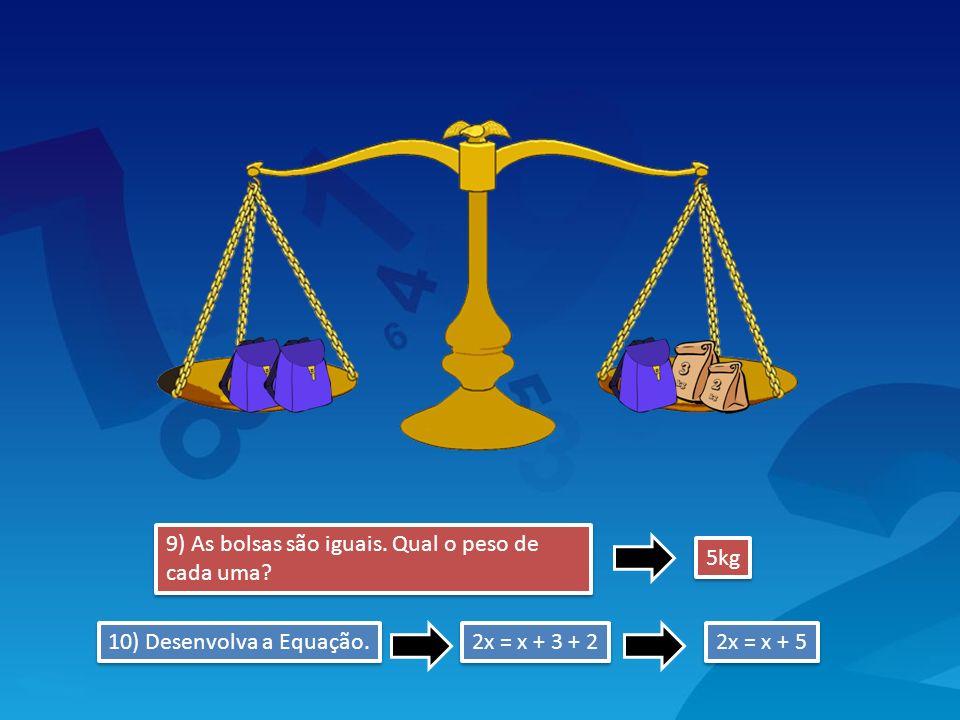 9) As bolsas são iguais. Qual o peso de cada uma