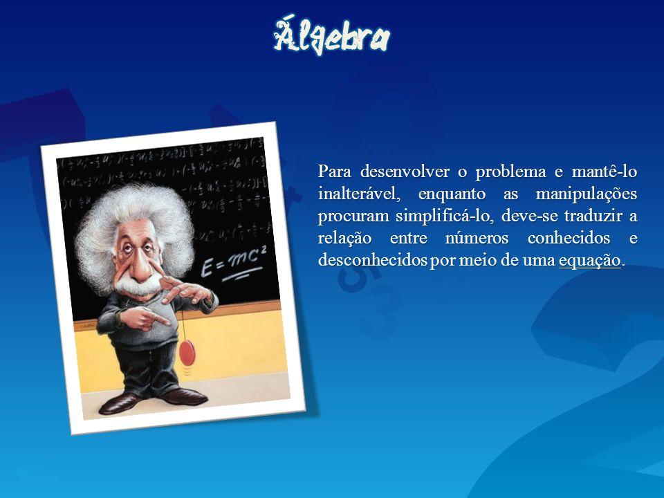 Para desenvolver o problema e mantê-lo inalterável, enquanto as manipulações procuram simplificá-lo, deve-se traduzir a relação entre números conhecidos e desconhecidos por meio de uma equação.