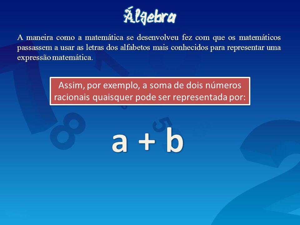 A maneira como a matemática se desenvolveu fez com que os matemáticos passassem a usar as letras dos alfabetos mais conhecidos para representar uma expressão matemática.