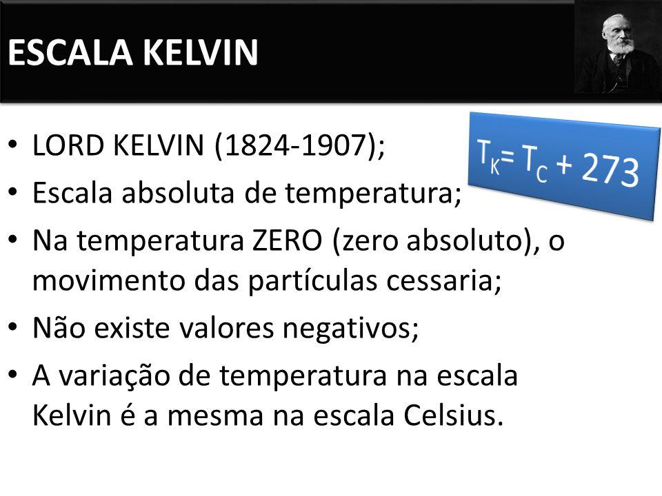ESCALA KELVIN TK= TC + 273 LORD KELVIN (1824-1907);