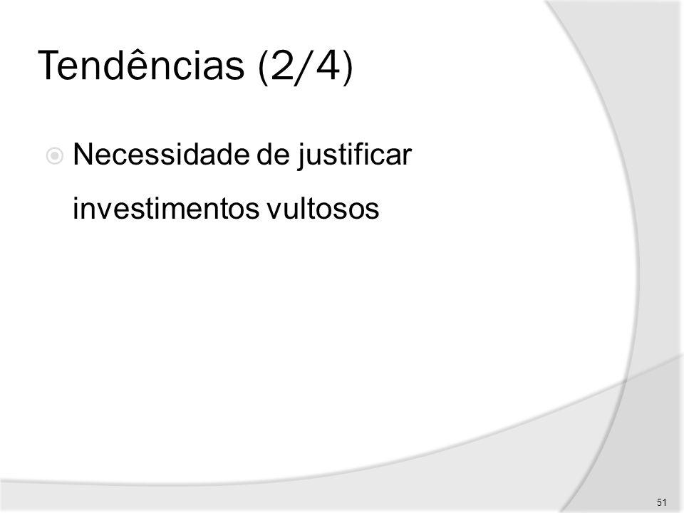 Tendências (2/4) Necessidade de justificar investimentos vultosos