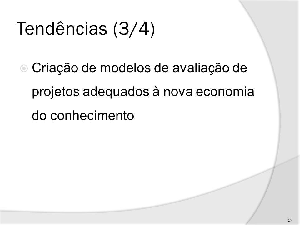 Tendências (3/4) Criação de modelos de avaliação de projetos adequados à nova economia do conhecimento.