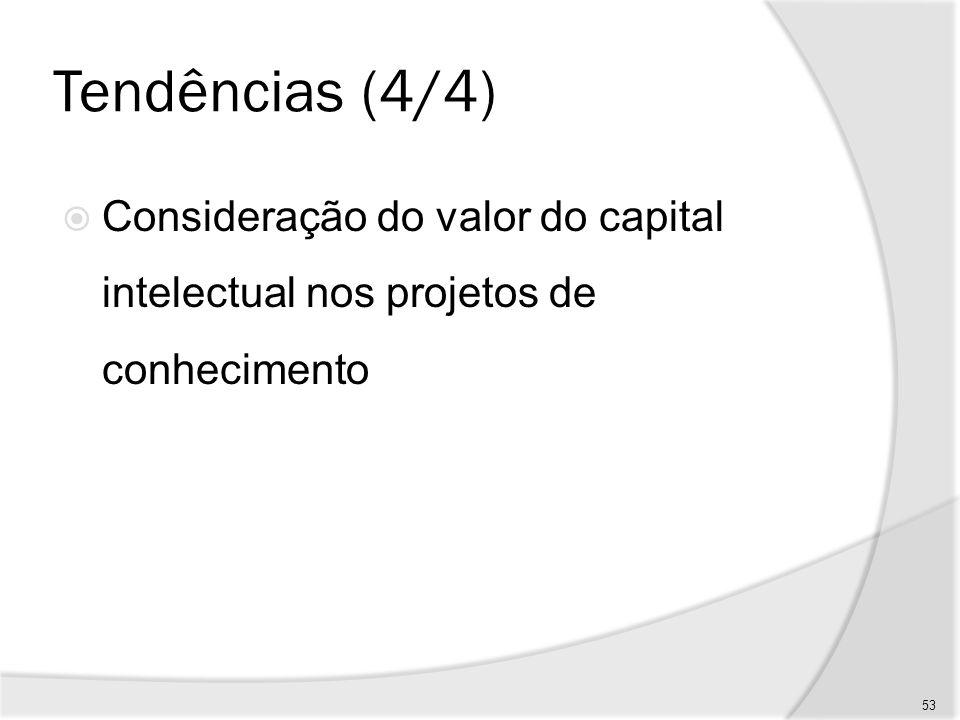 Tendências (4/4) Consideração do valor do capital intelectual nos projetos de conhecimento