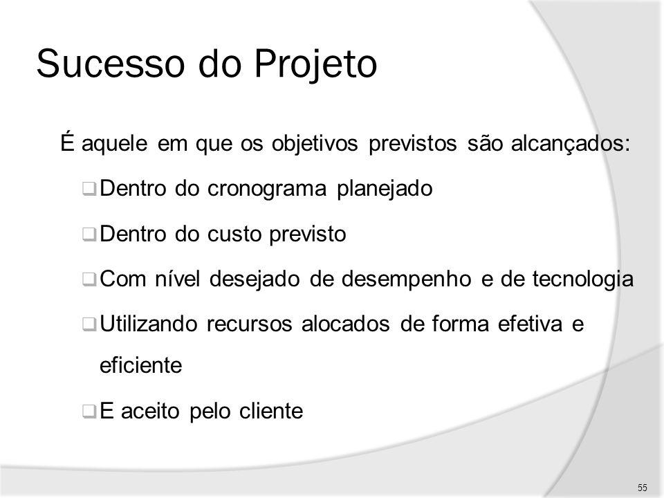Sucesso do Projeto É aquele em que os objetivos previstos são alcançados: Dentro do cronograma planejado.