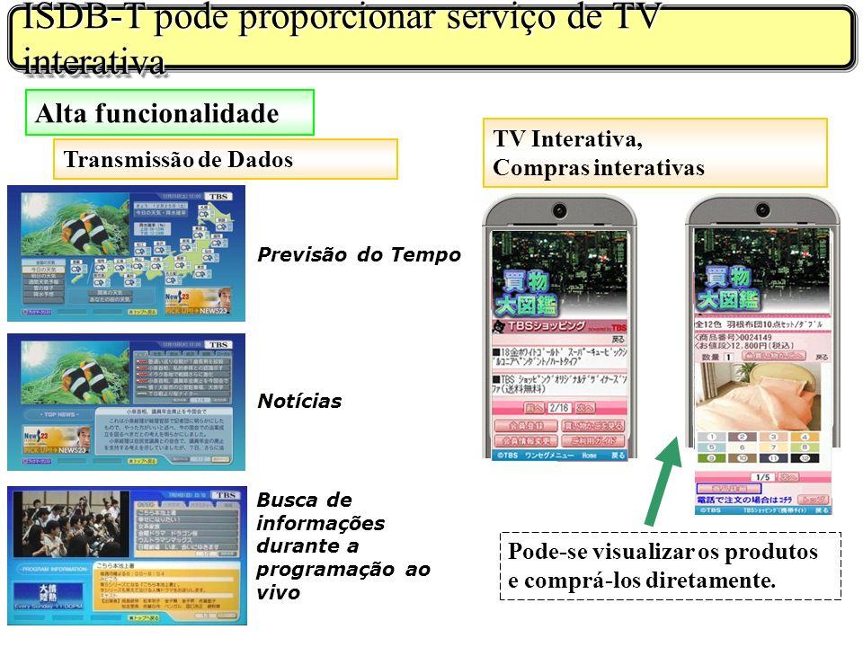 ISDB-T pode proporcionar serviço de TV interativa
