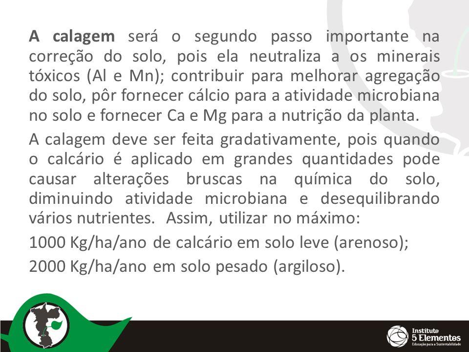 A calagem será o segundo passo importante na correção do solo, pois ela neutraliza a os minerais tóxicos (Al e Mn); contribuir para melhorar agregação do solo, pôr fornecer cálcio para a atividade microbiana no solo e fornecer Ca e Mg para a nutrição da planta.