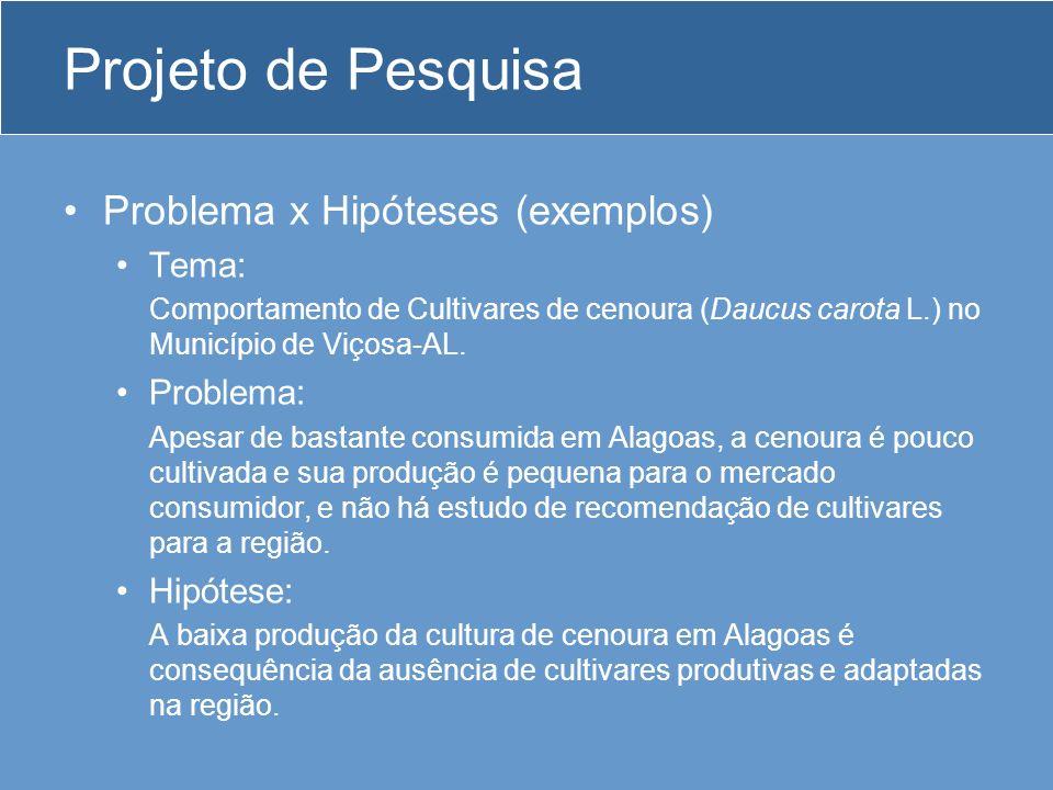 Projeto de Pesquisa Problema x Hipóteses (exemplos) Tema: Problema: