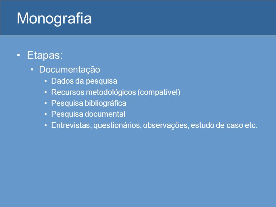 Monografia Etapas: Documentação Dados da pesquisa