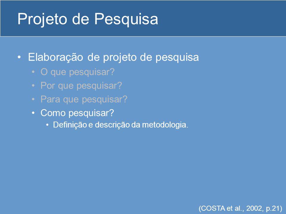 Projeto de Pesquisa Elaboração de projeto de pesquisa O que pesquisar
