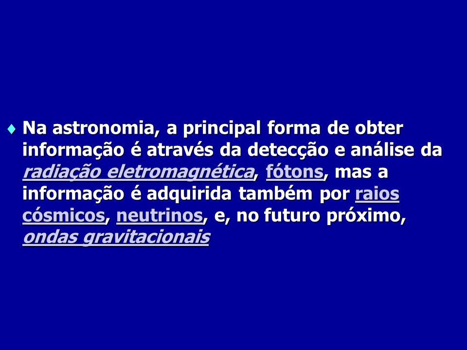 Na astronomia, a principal forma de obter informação é através da detecção e análise da radiação eletromagnética, fótons, mas a informação é adquirida também por raios cósmicos, neutrinos, e, no futuro próximo, ondas gravitacionais