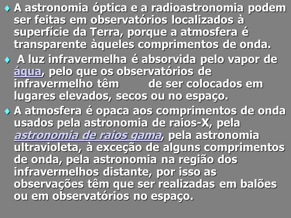 A astronomia óptica e a radioastronomia podem ser feitas em observatórios localizados à superfície da Terra, porque a atmosfera é transparente àqueles comprimentos de onda.