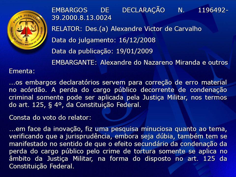 EMBARGOS DE DECLARAÇÃO N. 1196492-39.2000.8.13.0024