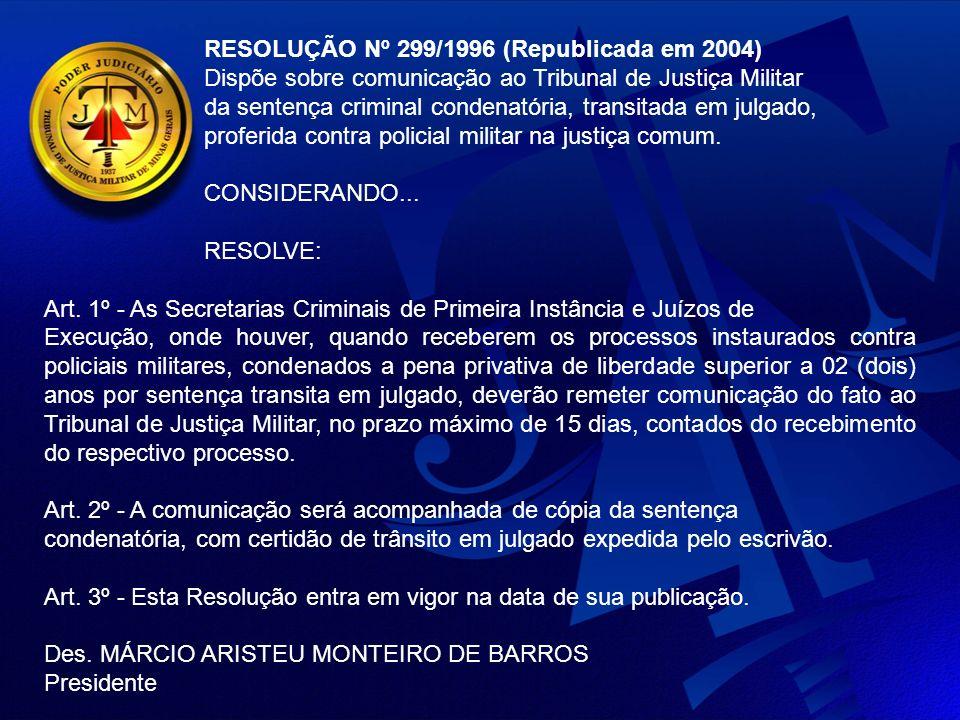 RESOLUÇÃO Nº 299/1996 (Republicada em 2004)