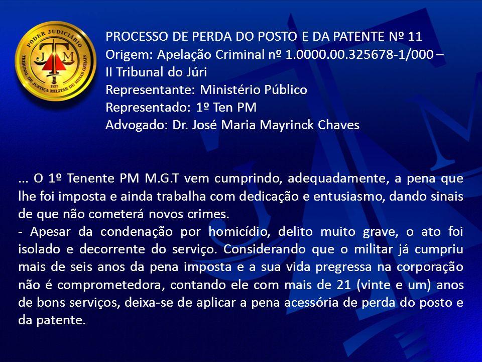 PROCESSO DE PERDA DO POSTO E DA PATENTE Nº 11