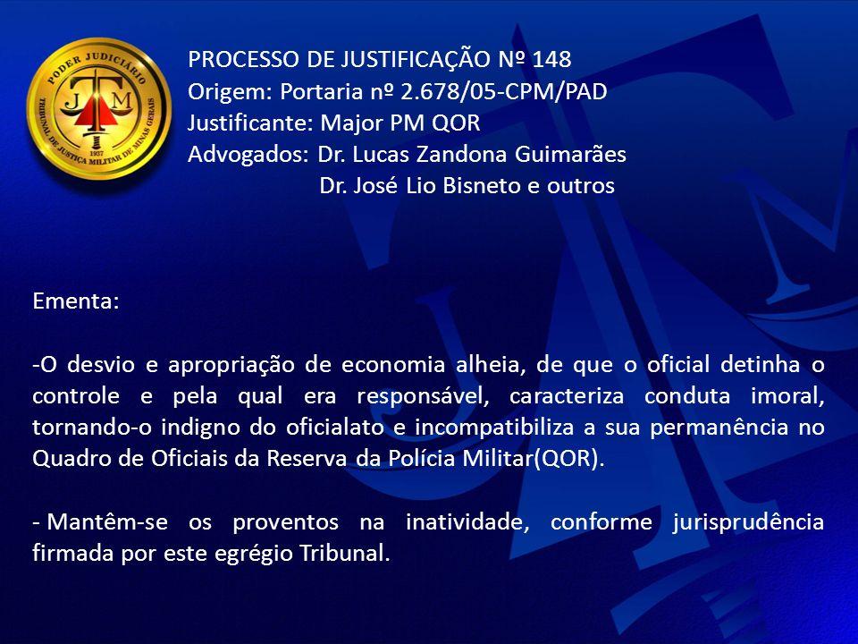 PROCESSO DE JUSTIFICAÇÃO Nº 148