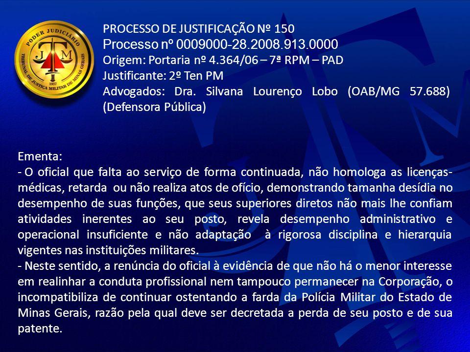 PROCESSO DE JUSTIFICAÇÃO Nº 150