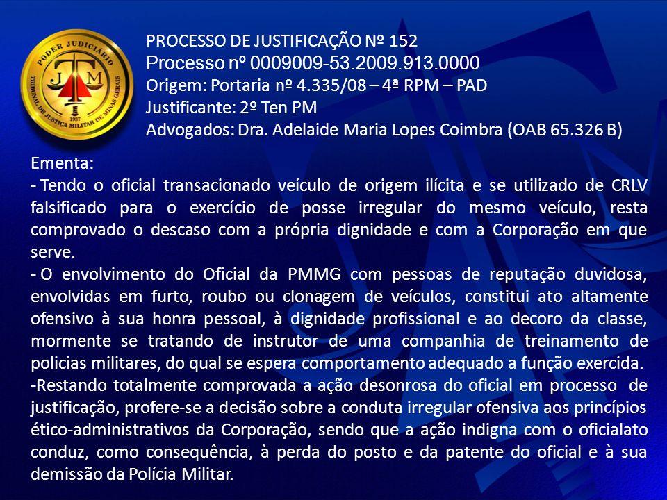 PROCESSO DE JUSTIFICAÇÃO Nº 152