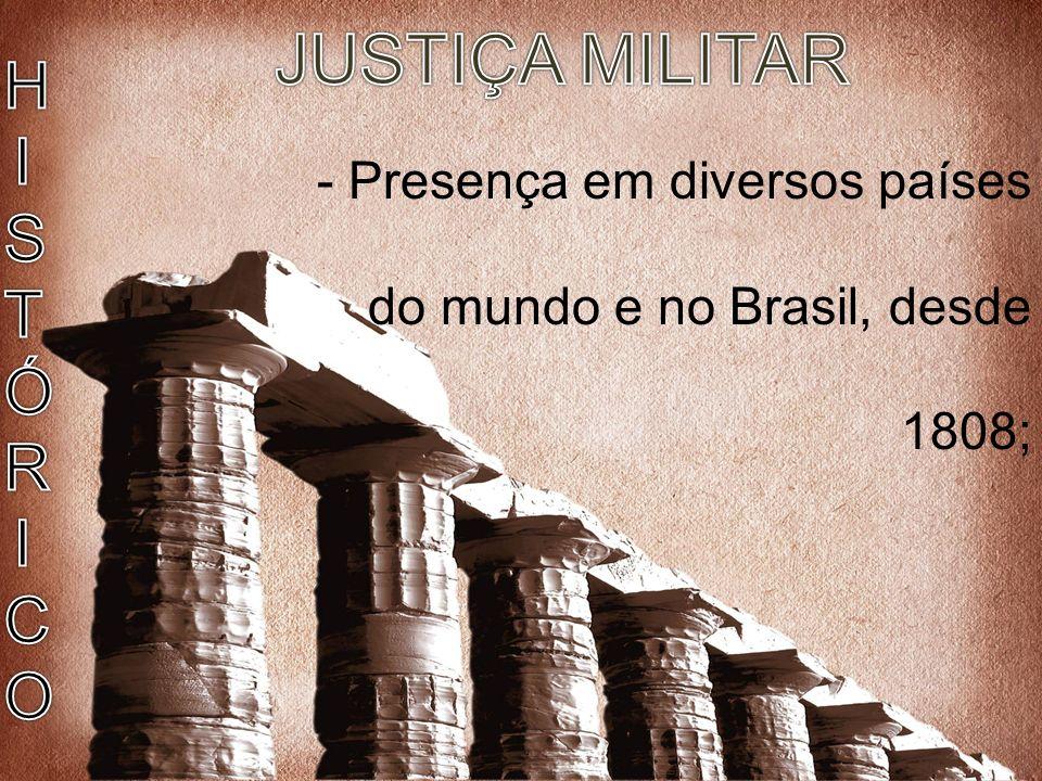 JUSTIÇA MILITAR HISTÓRICO Justiça Militar