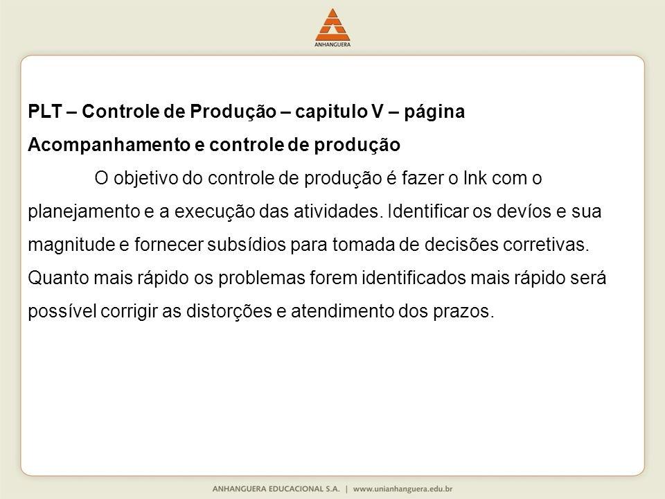 PLT – Controle de Produção – capitulo V – página