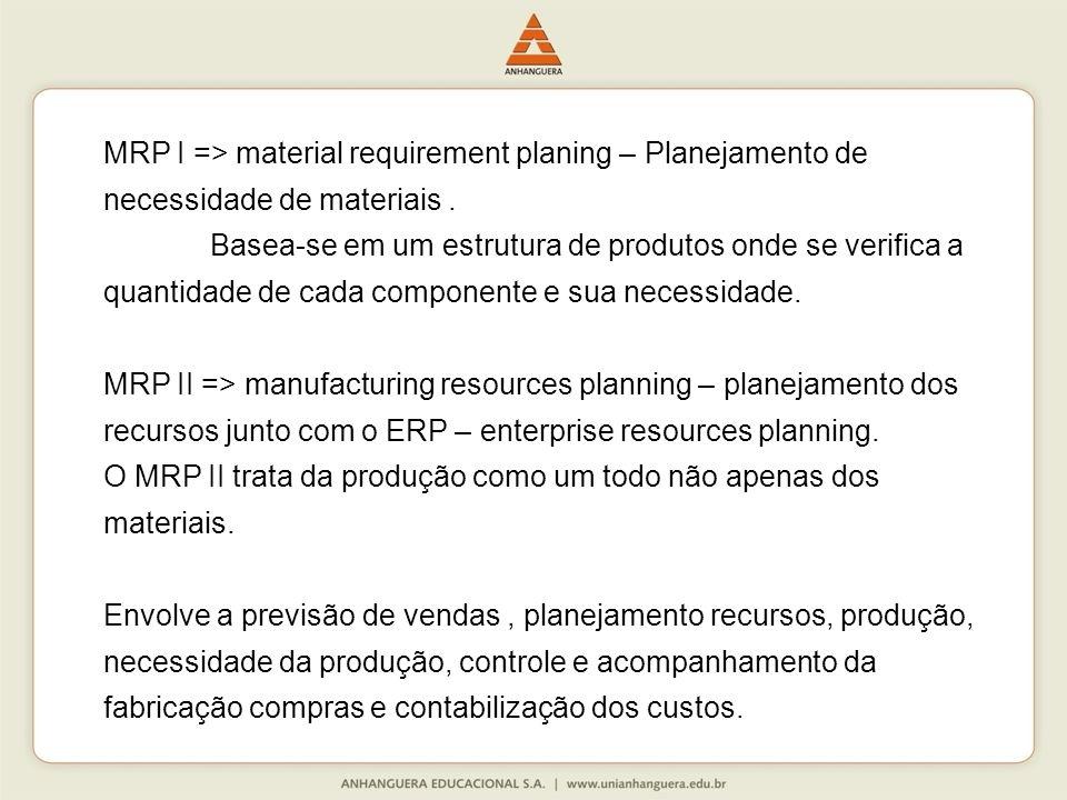 MRP I => material requirement planing – Planejamento de necessidade de materiais .