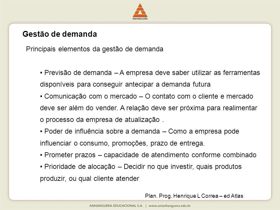 Gestão de demanda Principais elementos da gestão de demanda