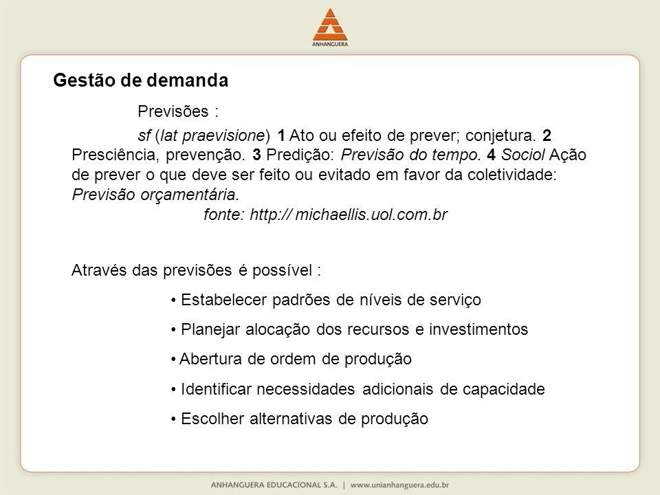 Gestão de demanda Previsões :