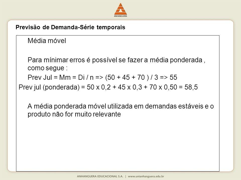 Prev Jul = Mm = Di / n => (50 + 45 + 70 ) / 3 => 55