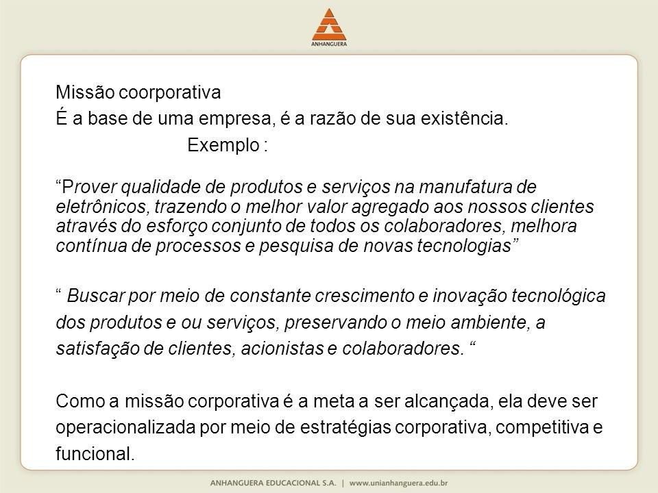 Missão coorporativa É a base de uma empresa, é a razão de sua existência. Exemplo :