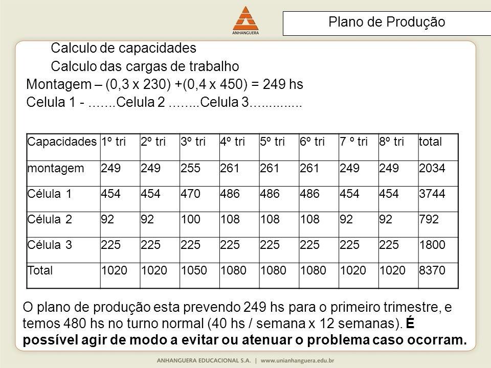 Calculo de capacidades Calculo das cargas de trabalho