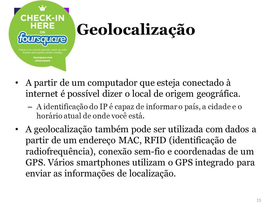 Geolocalização A partir de um computador que esteja conectado à internet é possível dizer o local de origem geográfica.