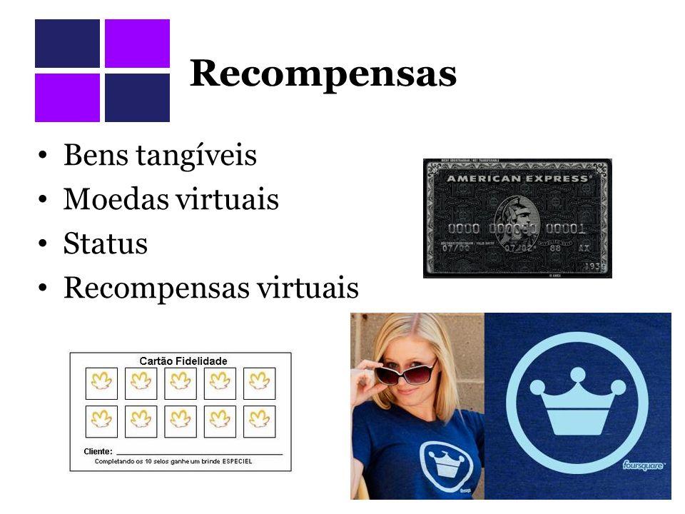 Recompensas Bens tangíveis Moedas virtuais Status Recompensas virtuais