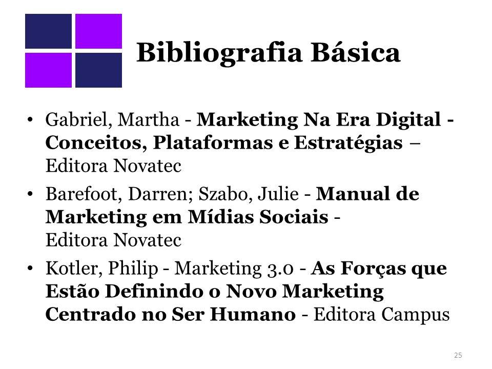 Bibliografia Básica Gabriel, Martha - Marketing Na Era Digital - Conceitos, Plataformas e Estratégias – Editora Novatec.