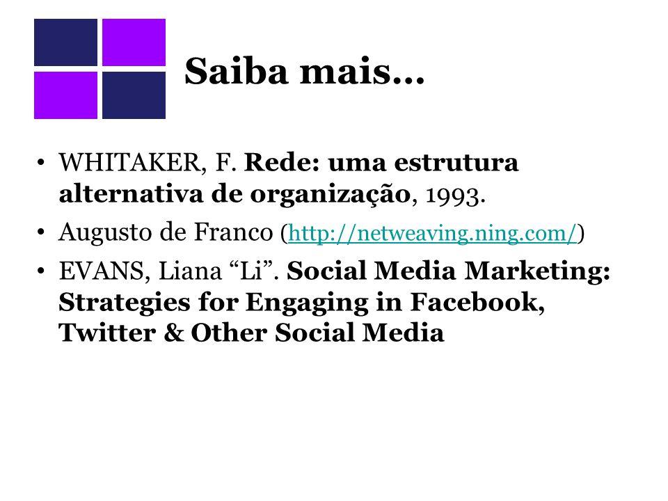 Saiba mais… WHITAKER, F. Rede: uma estrutura alternativa de organização, 1993. Augusto de Franco (http://netweaving.ning.com/)