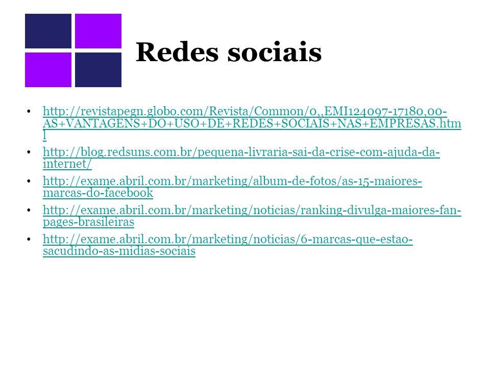 Redes sociais http://revistapegn.globo.com/Revista/Common/0,,EMI124097-17180,00-AS+VANTAGENS+DO+USO+DE+REDES+SOCIAIS+NAS+EMPRESAS.html.