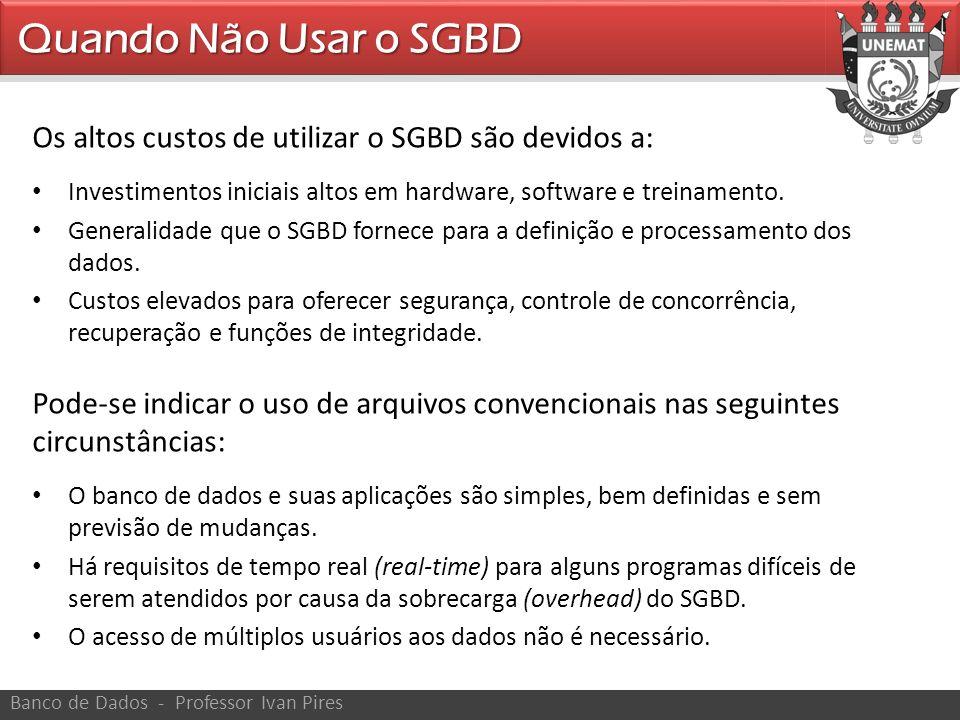 Quando Não Usar o SGBD Os altos custos de utilizar o SGBD são devidos a: Investimentos iniciais altos em hardware, software e treinamento.