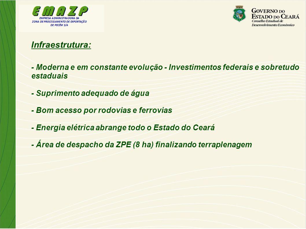 Infraestrutura: - Moderna e em constante evolução - Investimentos federais e sobretudo estaduais.