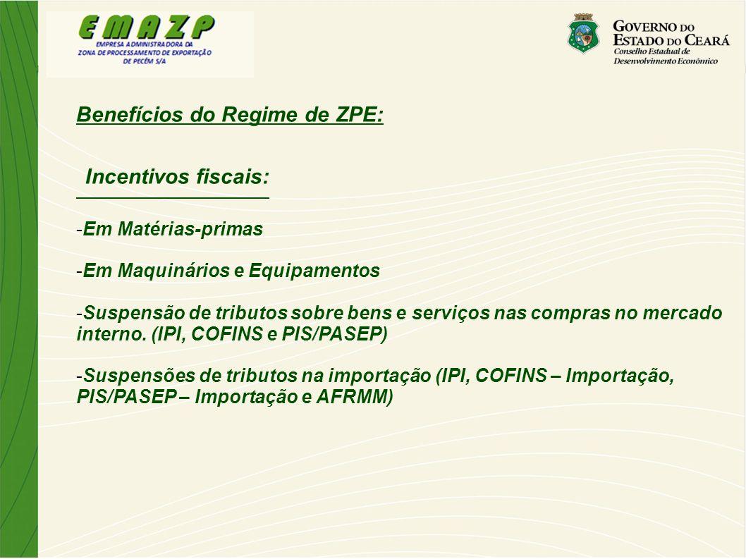 Benefícios do Regime de ZPE: Incentivos fiscais: