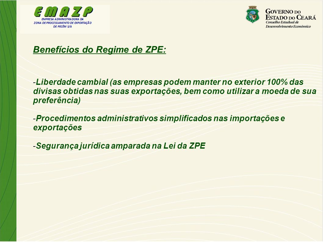 Benefícios do Regime de ZPE: