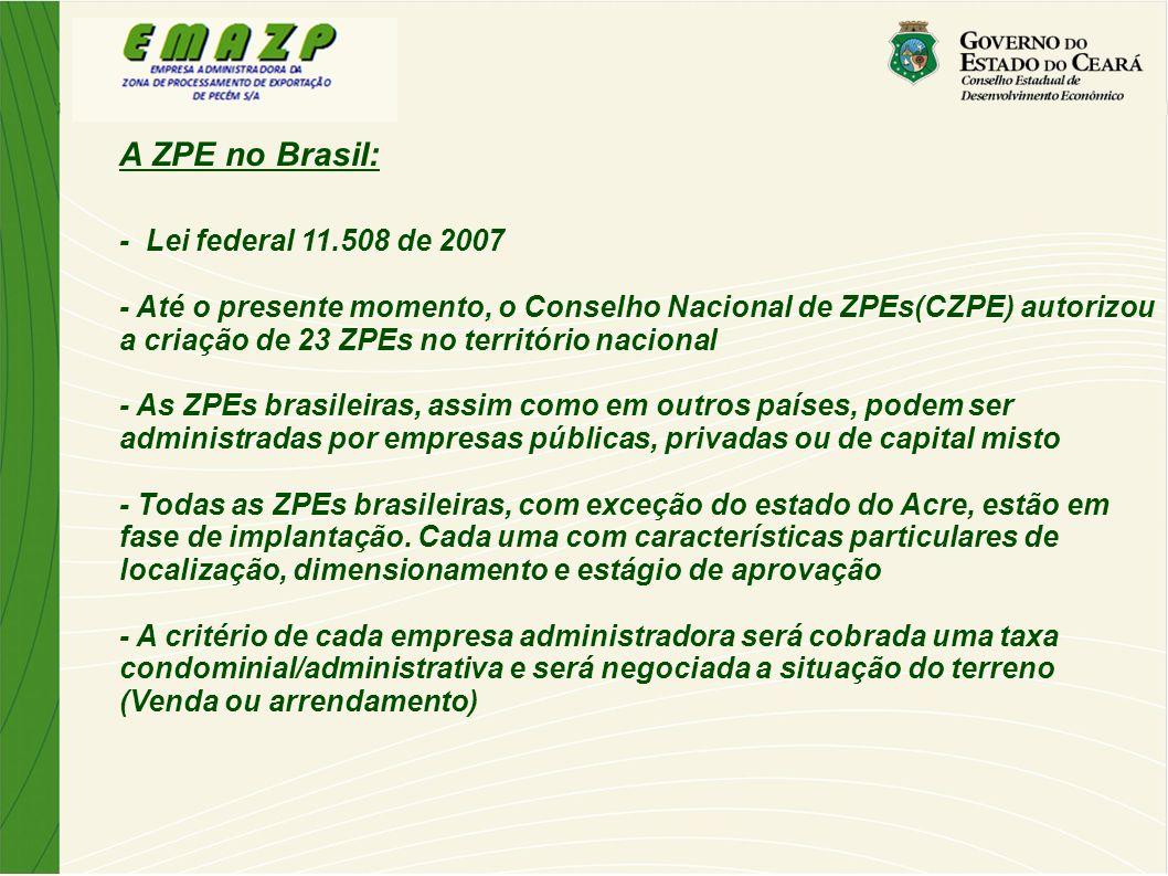 A ZPE no Brasil: - Lei federal 11.508 de 2007