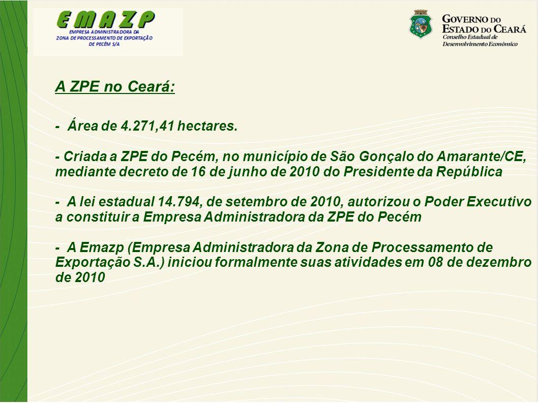 A ZPE no Ceará: - Área de 4.271,41 hectares.