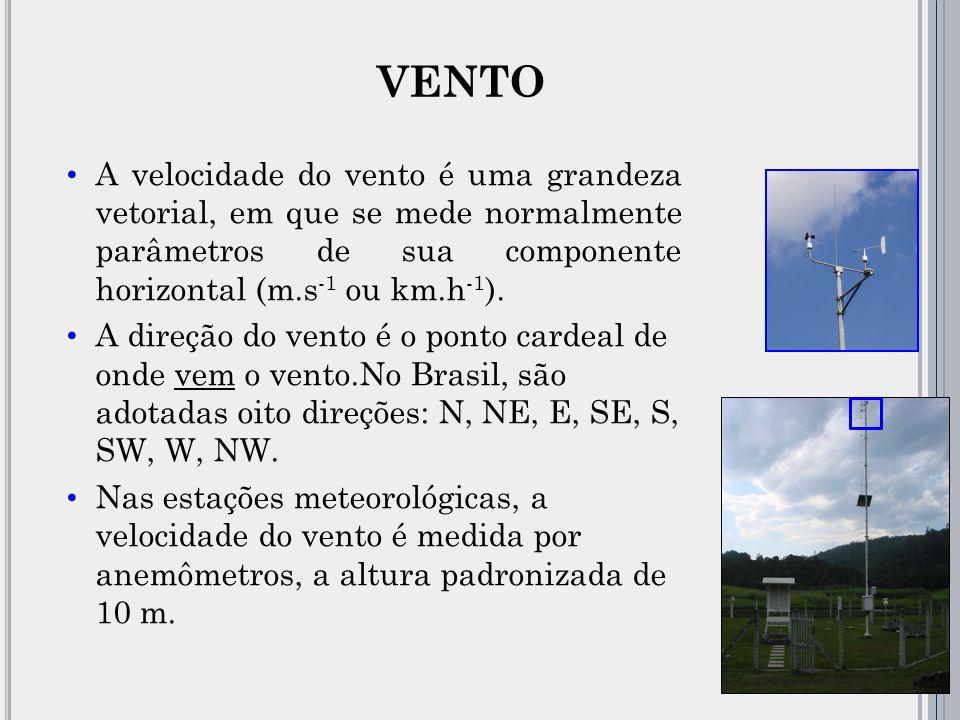 VENTO A velocidade do vento é uma grandeza vetorial, em que se mede normalmente parâmetros de sua componente horizontal (m.s-1 ou km.h-1).